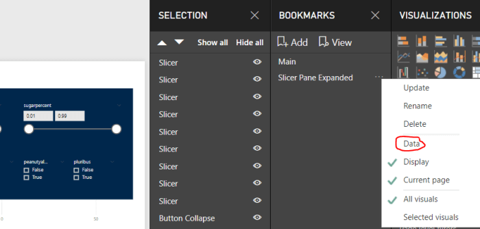 Power BI Slicer Pane Bookmark Setup