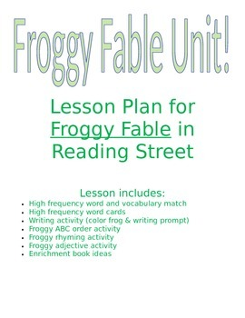 Sweet In 2nd A Froggy Fable Lesson Plans