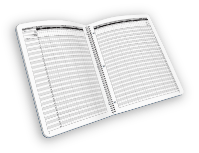 Open-spiral bound teacher grade book with log.