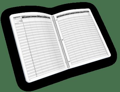 Open-spiral bound teacher grade book with log.
