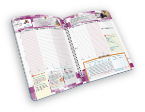 Open faced spiral-bound planner with days of week.