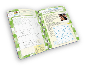 Open faced spiral-bound planner with days of month and puzzle.