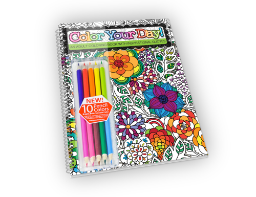 Spiral-bound adult coloring book with colored pencils.