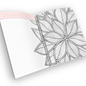 Open spiral-bound coloring journal with a leaf outline page.