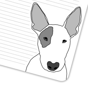 Close up of lined page and a bull terrier.