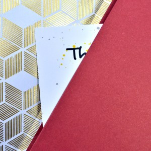 Close up of open notebook with pocket.