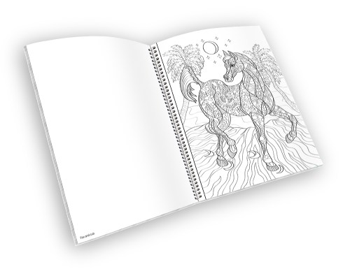 Open spiral-bound coloring book with a horse outline.