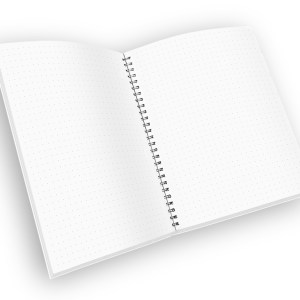 Open spiral-bound notebook with dot grid pages.