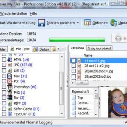 Anzeige der gefundenen Dateien. Bild: GetData.