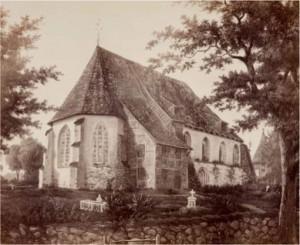 Aquarell der Stiftskirche Ramelsloh vor dem Neubau, etwa 1870