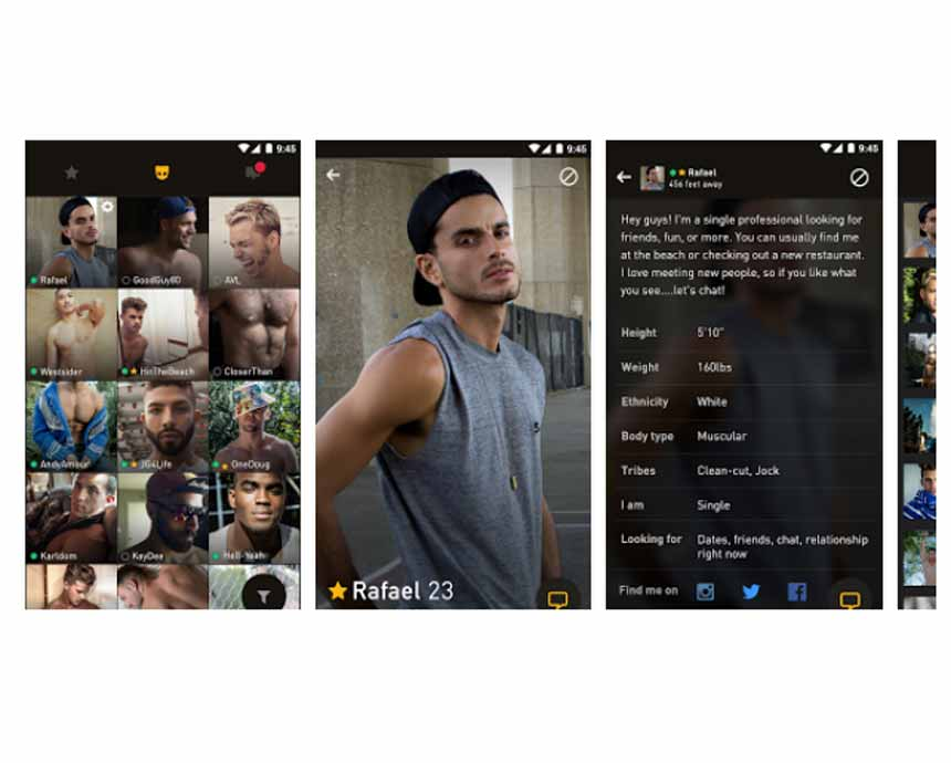 Grindr's interface, photo, and profiles
