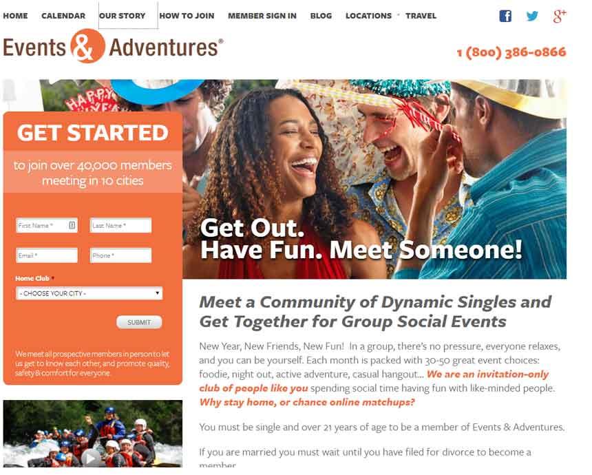 Eventsandadventures.com's homepage