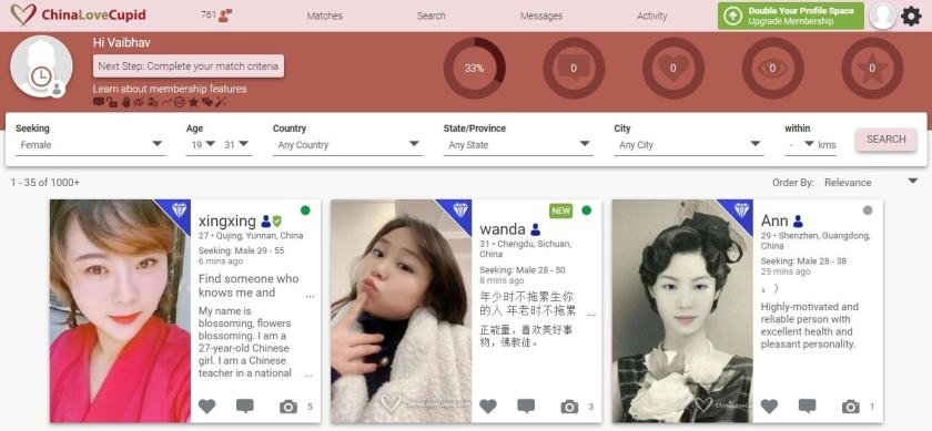 ChinaLove Cupid - complete dashboard