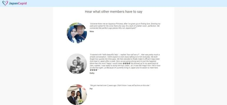 JapanCupid.com - members testimonial