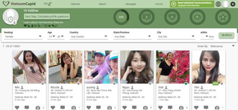 VietnamCupid.com - Dating site dashboard