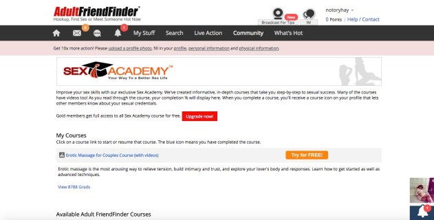 Adult Friend Finder sex academy