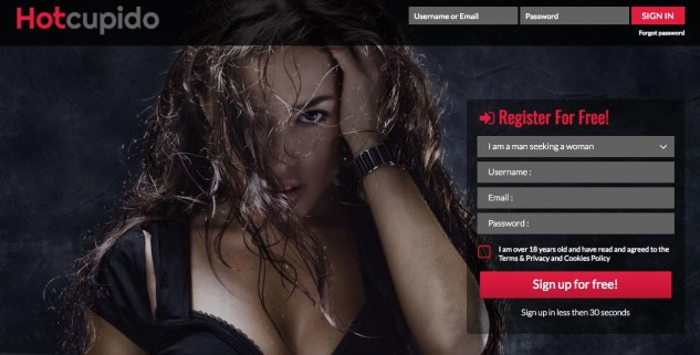 hotcupido sign up page