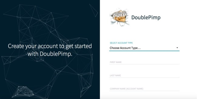 doublepimp sign up page