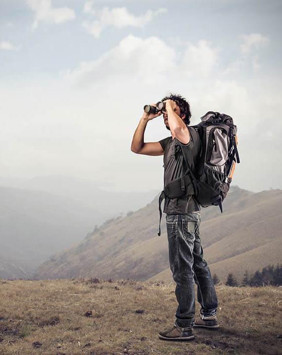 man with binoculars - dating advice