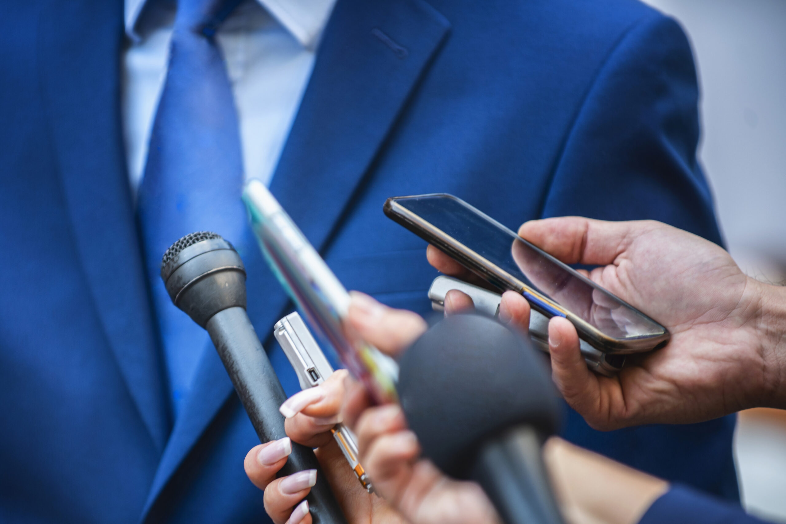 Media Interview. Journalists Interviewing Politician or Businessman