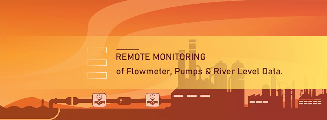 Remote monitoring of flowmeter, pump motor and river level.
