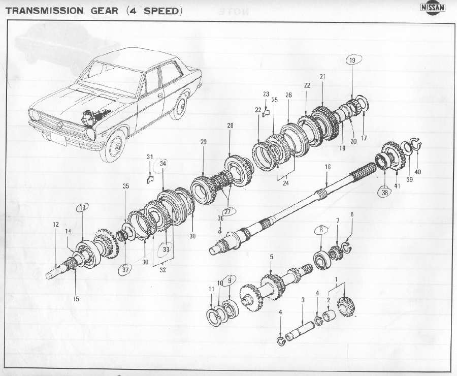 F4W56 Transmission Parts List 1 : Datsun 1200 Club