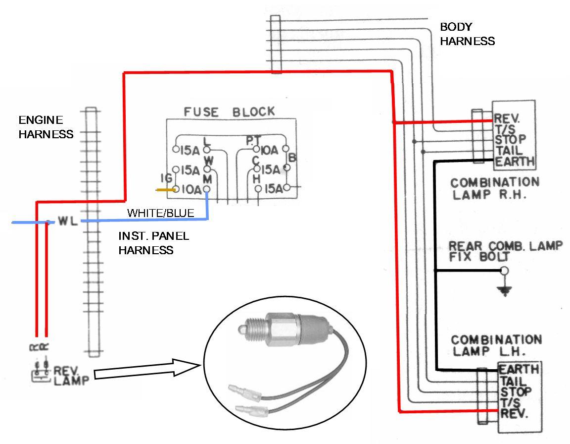 backup light wiring diagram 230 volt outlet reverse lamp datsun 1200 club