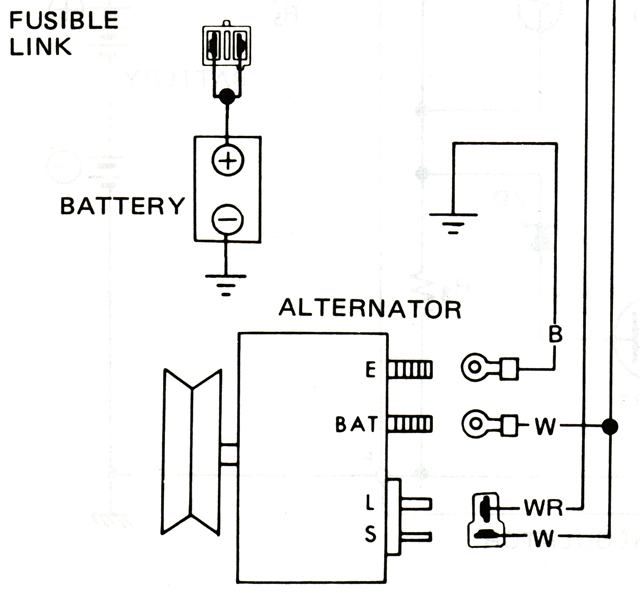 schematic for wiring of internally-regulated alternator