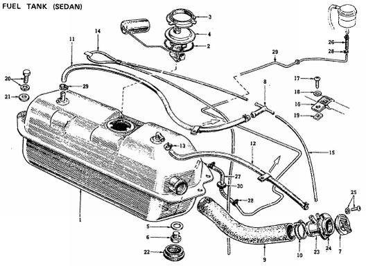 1972 Sedan Fuel Tank : Datsun 1200 Club