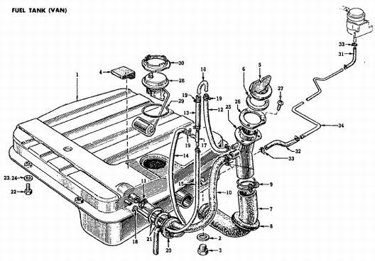 1972 Van (Wagon) Fuel Tank : Datsun 1200 Club
