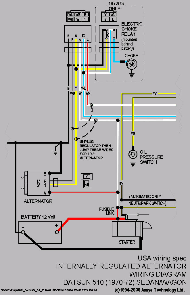 Outstanding Datsun Alternator Wiring Diagram Wiring Diagram Database Wiring 101 Tzicihahutechinfo