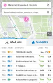 uso de digitransit en finlandia para planificar un viaje en transporte público
