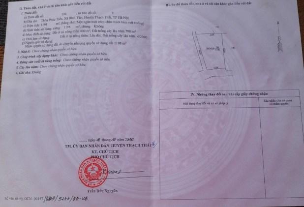 1198m2 đất Thạch Thất, Hà Nội