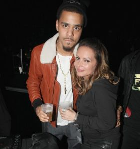 NEW YORK, NY - SEPTEMBER 28: J. Cole and Angie Martinez attend the exclusive D'USSE VIP Lounge at Barclays Center on September 28, 2012 in New York City. (Photo by Johnny Nunez/Getty Images for D'USSE)