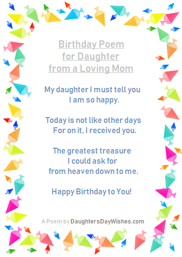 Happy Birthday Daughter From Dad Poems : happy, birthday, daughter, poems, Daughter's, Birthday, Poems, DaughtersDayWishes.com