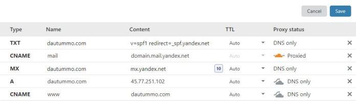 mx record sau khi thêm ở cloudflare