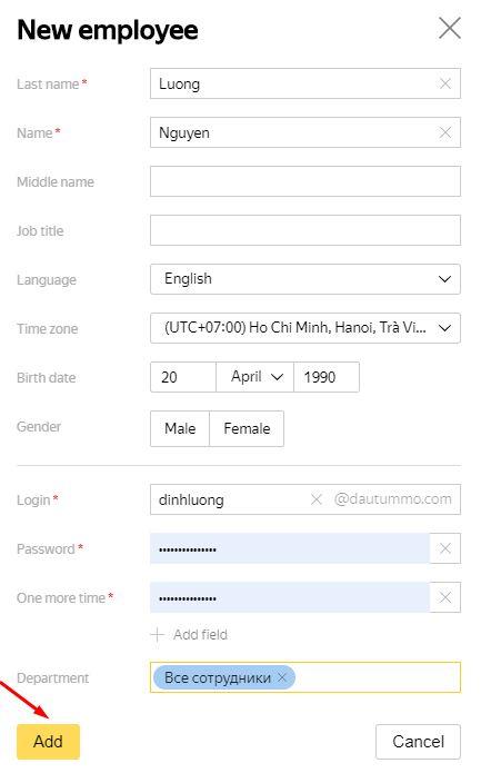 nhập thông tin người dùng mới