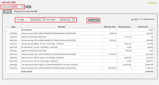 kiểm tra sao kê tiền trên web SmartOne
