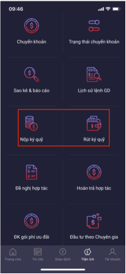 nộp rút tiền ký quỹ trên app SmartPro
