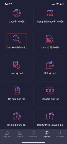 xem sao kê và báo cáo trên app SmartPro