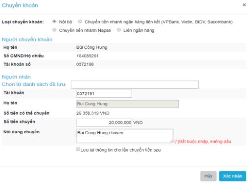 chuyển khoản trên web SmartPro