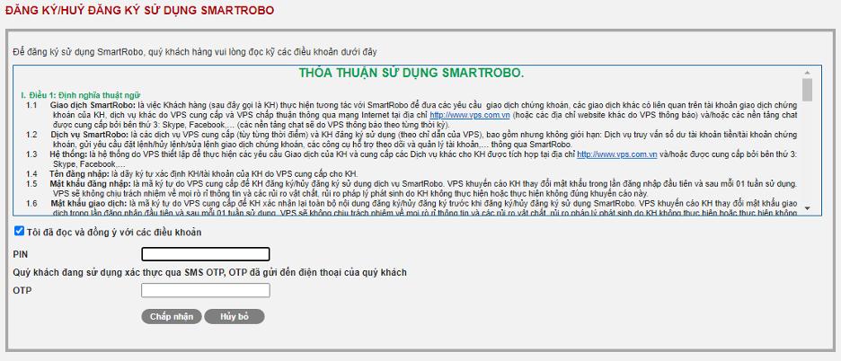 điều khoản đăng ký sử dụng SmartRobo
