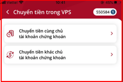 Hướng dẫn chuyển tiền trong VPS trên app SmartOne