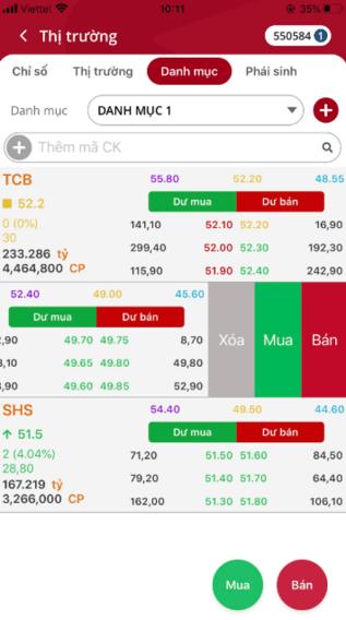 đặt lệnh mua bán chứng khoán từ danh mục theo dõi trên app SmartOne