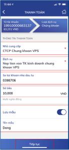 HD nộp tiền vào tài khoản chứng khoán VPS qua ứng dụng Smart banking BIDV