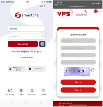 khôi phục mật khẩu trên app SmartOne