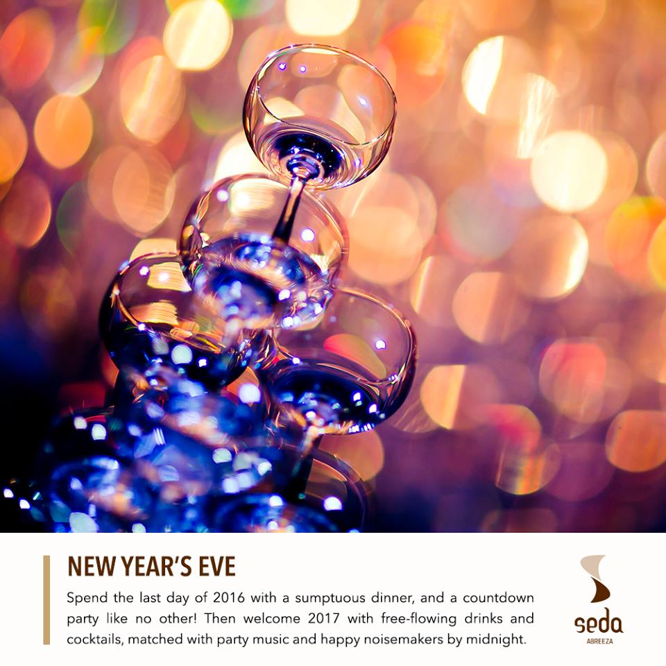 "NYE DINNER BUFFET & COUNTDOWN PARTY PACKAGE December 31, 2016 | 7PM to 1AM Sparkle your way to 2017! Seda Abreeza gives you the best New Year's Eve Dinner and Countdown Party this December 31st, 2016. Experience a white and gold ""Gliterrati"" Party with free-flowing drinks, wide array of cocktails and desserts, and a party band and DJ to play the beats. Make sure you've got someone cute to kiss once the clock hits 12! See you! Php 2880 for adults Php 1480 nett for kids aged 7-12 years old Free for kids aged 6 years old and below."