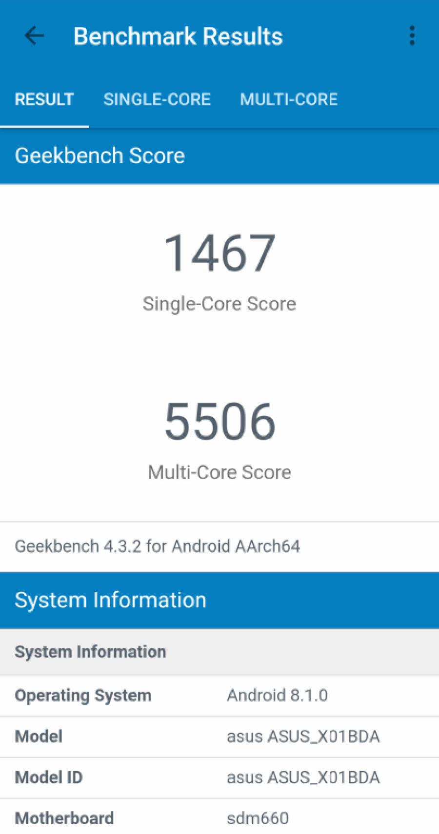Zenfone Max Pro M2 Geekbench Benchmark