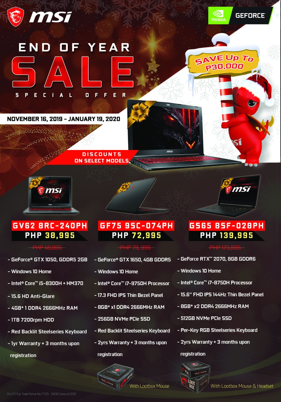 MSI End of Year Sale Promo 1