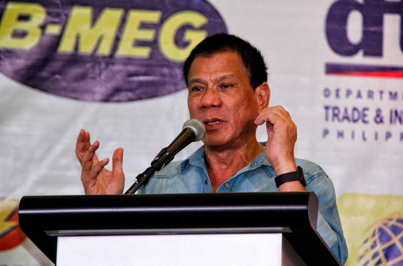 Davao City Mayor Rodrigo Duterte addresses participants of the Davao Trade Expo 2013. (davaotoday.com photo by Medel V. Hernani)